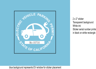 Proposed new EV Parking permit sticker for 7/03